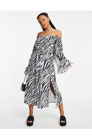ASOS Bardot waisted midi dress in zebra print-Multi