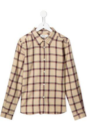 BONPOINT TEEN checked long-sleeve shirt
