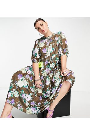 ASOS ASOS DESIGN Curve midi smock dress in grunge floral print-Multi