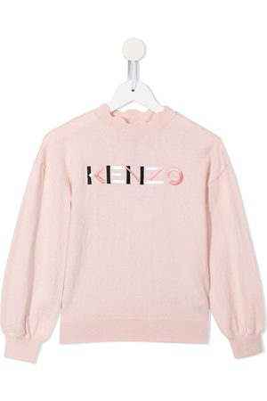 Kenzo Girls Jumpers - Logo-embroidered knitted jumper
