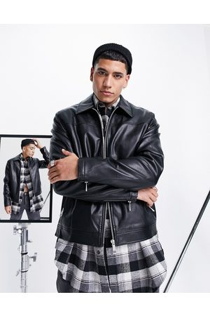 ASOS Faux leather harrington jacket in with borg lining