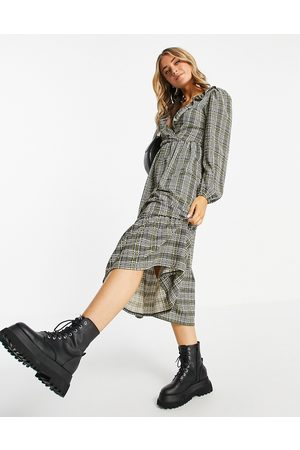ASOS Midi smock dress with frill neck and tiered hem in and green check print