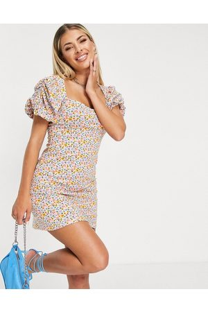ASOS Puff sleeve mini dress in ditsy floral-Multi