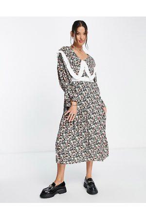 Sister Jane Midi dress with oversized bib in dark floral-Multi