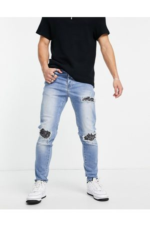 Sixth June Distressed relaxed jeans with bandana detailing in