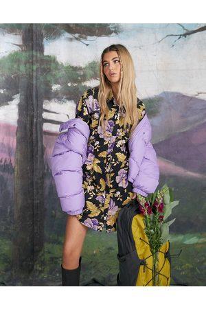 ASOS Twill mini shirt dress in purple floral print-Multi