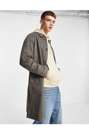 ASOS Wool mix overcoat in brown check
