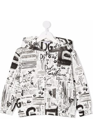 Dolce & Gabbana Boys Jumpers - Logo-print pullover hoodie