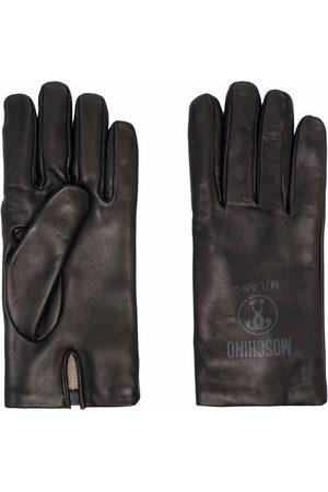 Moschino Logo-print leather gloves