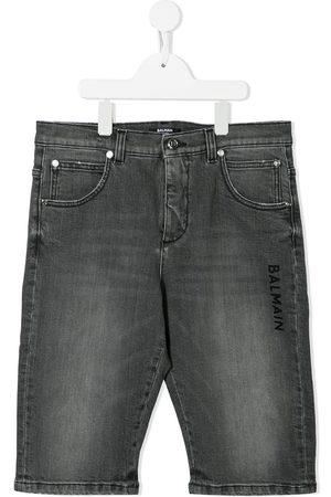 Balmain TEEN logo-print denim shorts