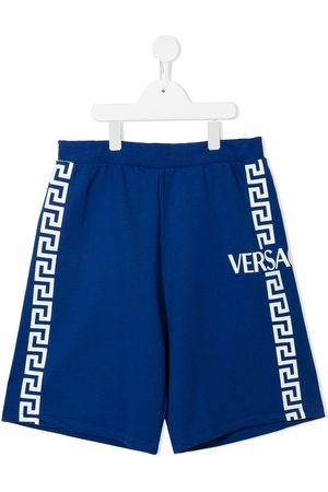 VERSACE Greca-print cotton shorts