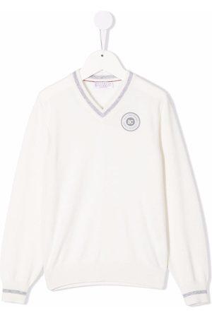 Brunello Cucinelli Boys Jumpers - Logo-patch cashmere V-neck jumper