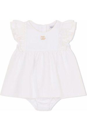 Dolce & Gabbana Logo embroidered cotton dress