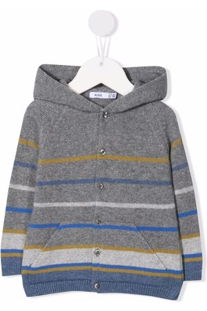 KNOT Striped button-up knitted hoodie