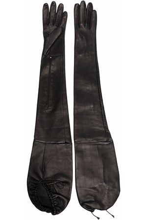 Manokhi Lace-tie long leather gloves