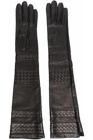 Manokhi Lattice-detail leather gloves