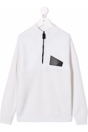 Emporio Armani Logo-patch half-zip jumper