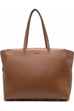 Furla Debossed-logo leather tote bag