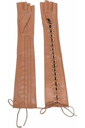 Manokhi Long lace-up leather gloves