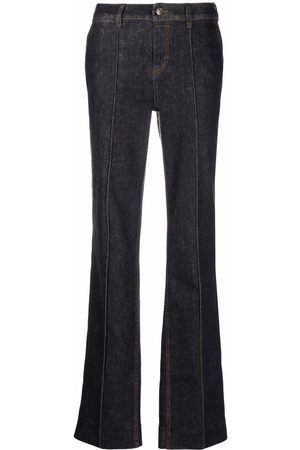 ZIMMERMANN Contrast-stitch flared-leg denim jeans