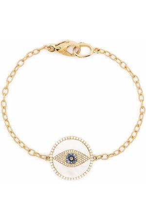 LOREE RODKIN 18kt yellow , pearl, diamond and sapphire eye charm bracelet