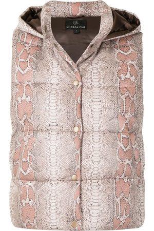 Unreal Fur Python-print hooded gilet