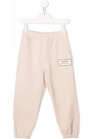 DOUUOD KIDS Boys Trousers - Logo-patch cotton track trousers