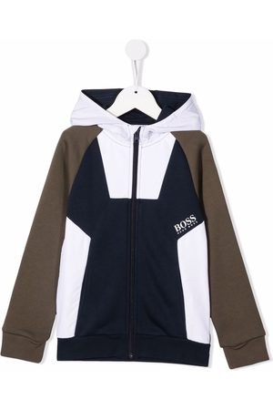 HUGO BOSS Boys Hoodies - Colour-block zip-up hoodie