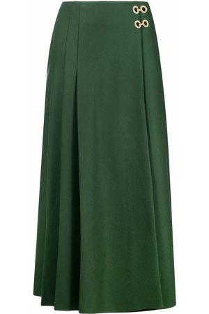 Alberta Ferretti High-waisted pleated midi skirt