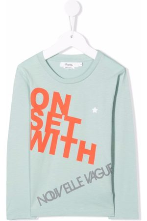 BONPOINT Boys Long Sleeve - Slogan-print cotton T-shirt