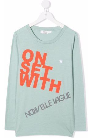 BONPOINT Boys Long Sleeve - TEEN slogan-print cotton T-shirt