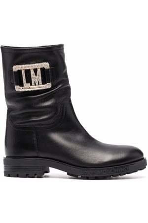 Love Moschino Logo plaque ankle boots