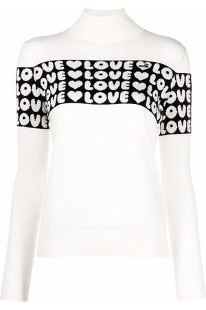 Love Moschino Women Jumpers - Love intarsia rib-trimmed jumper