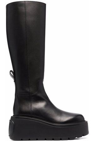 VALENTINO GARAVANI VLogo knee-high leather platform boots