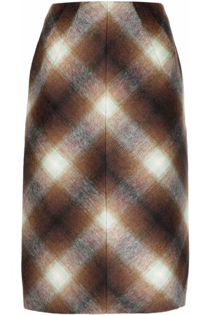 Nº21 Check-pattern mid-length skirt