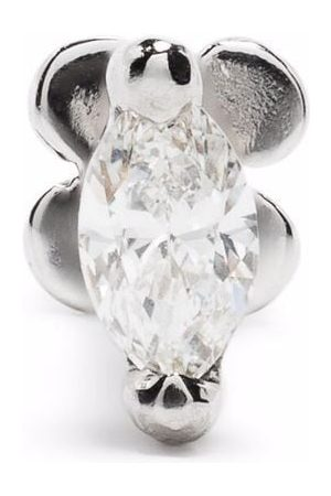 White Bird 18kt and 14kt white gold marquise diamond stud earring