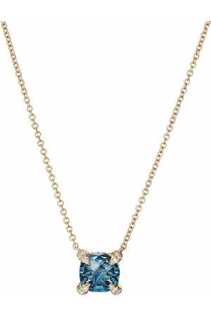 David Yurman 18kt yellow Châtelaine topaz diamond pendant necklace