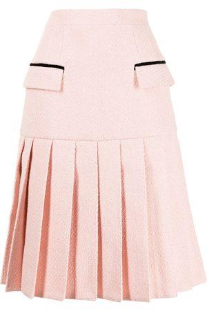 HUISHAN ZHANG Textured flap-pockets pleated skirt