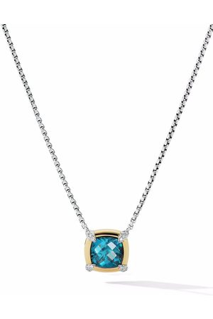 David Yurman 18kt yellow gold and sterling Châtelaine blue topaz and diamond pendant necklace