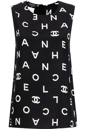 CHANEL 1997 logo-print silk vest