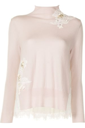 Onefifteen Women Jumpers - Floral-appliqué knitted jumper