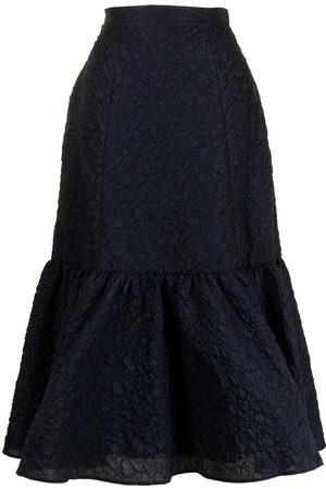 Erdem Embossed floral-detail fluted skirt