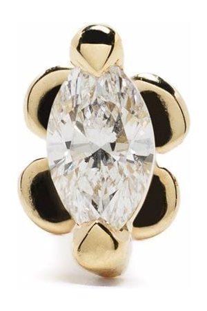 White Bird 18kt yellow and 14kt yellow marquise diamond stud earring