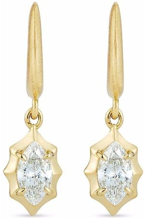 Jade Trau 18kt yellow Maverick drop diamond huggies