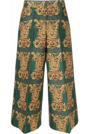 La DoubleJ Graphic-print cropped trousers