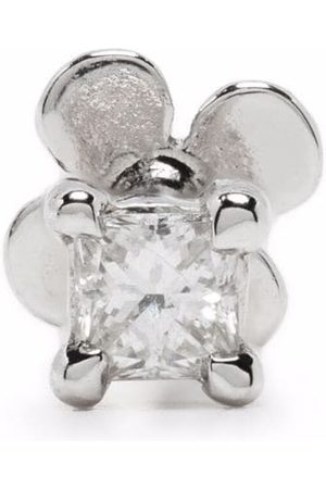 White Bird 18kt and 14kt white gold princess diamond stud earring