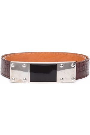 Gianfranco Ferré 1990s elongated flat buckle crocodile effect belt