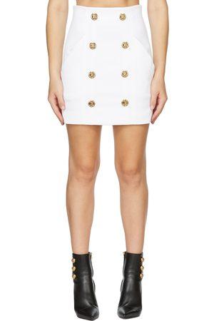 Balmain Logo Gold Button Skirt