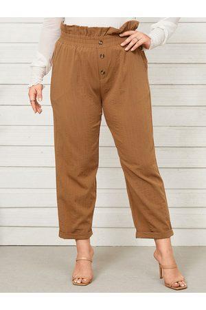 YOINS Plus Size Button Design Shirring Roll Pants