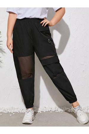 YOINS Plus Size Pocket Design Patchwork Design Pants